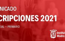 Comunicado Inscripciones 2021 Nivel inicial y primario