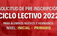 Pre Inscripción - Ciclo lectivo 2022